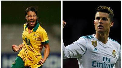 'Yessssss!' Cristiano Ronaldo is a big Sam Kerr fan