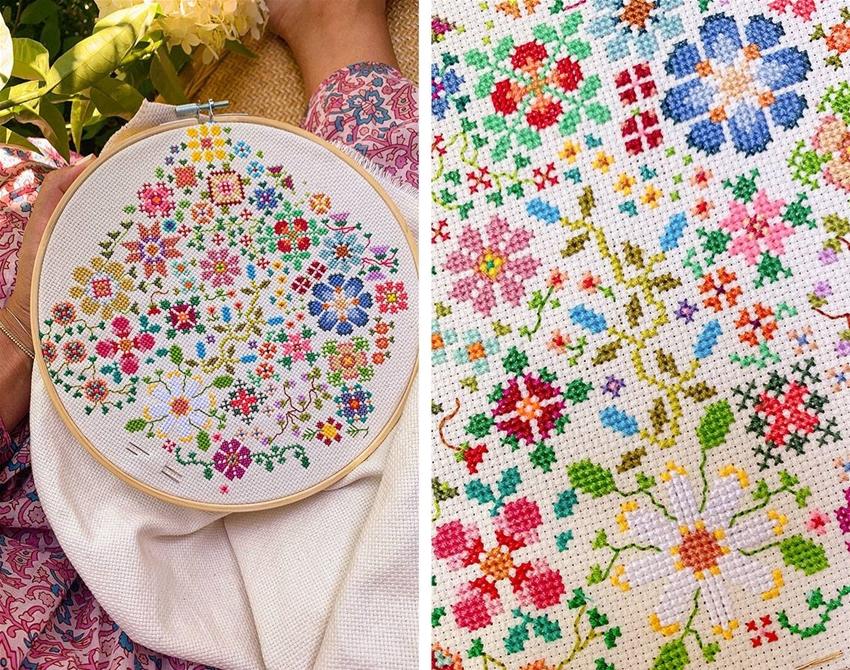 cross-stitch a big floral scene