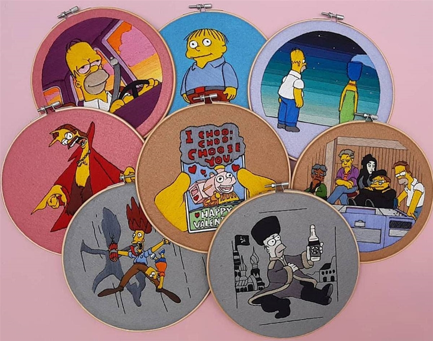 a whole lot of simpsons embroidery