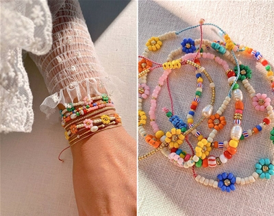 diy beaded daisy bracelet