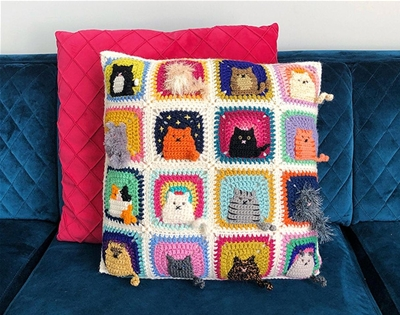learn how to crochet cat-themed granny squares