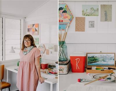step inside illustrator cass urquhart's breezy, sun-filled home studio