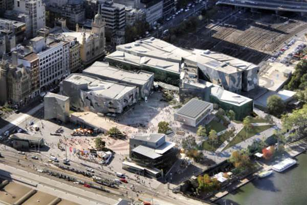 Ariel view of Federation Square with updated Apple Store design