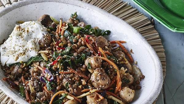 'Lean up' lentil and mushroom stir-fry