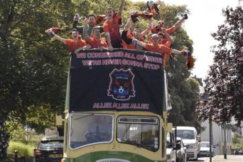 Sunday League side celebrate title win with open bus parade