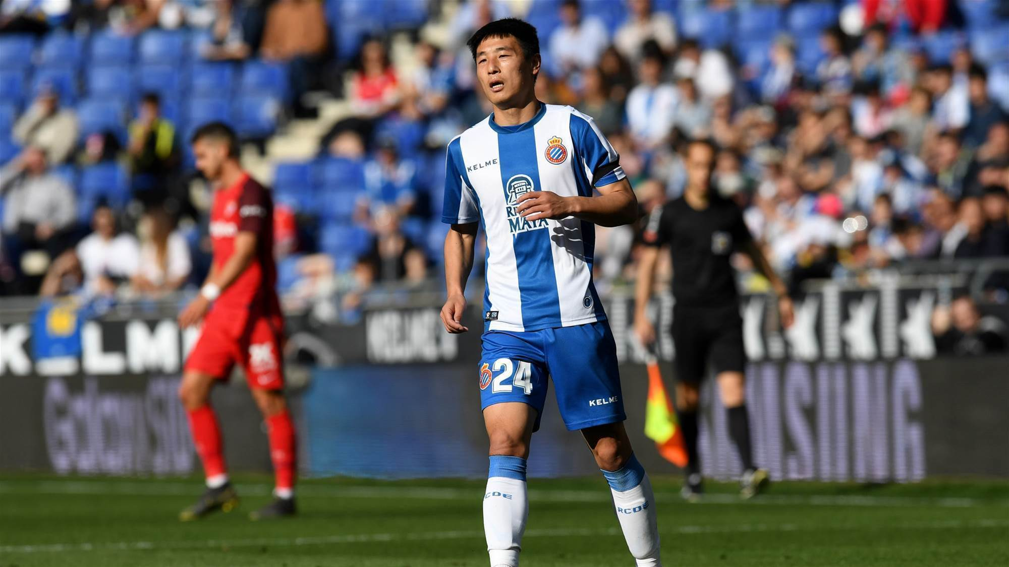 Espanyol star Wu Lei faces off with Lionel Messi in the Catalan Derby