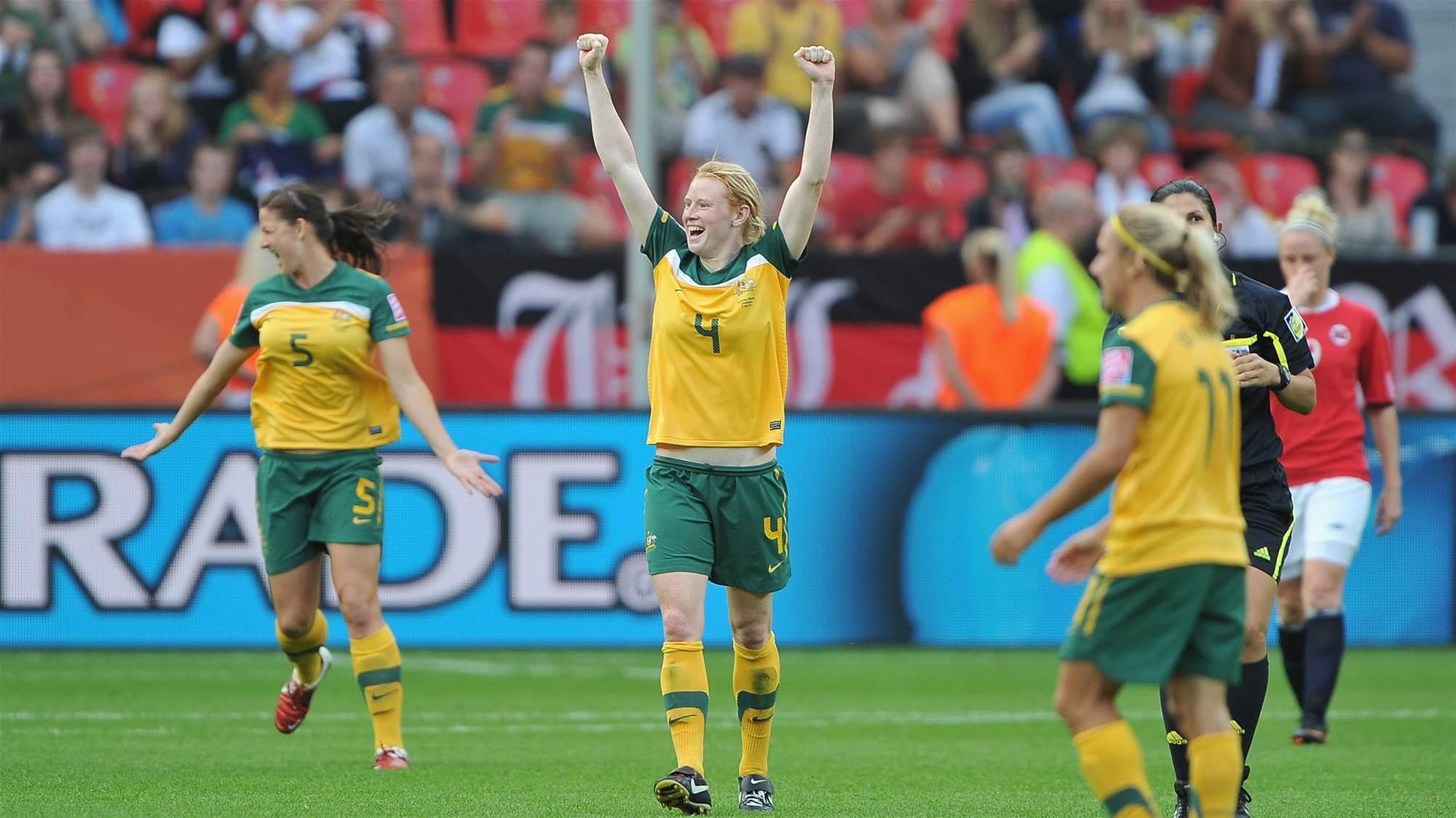 Celebrating Polkinghorne's 100th Matildas game