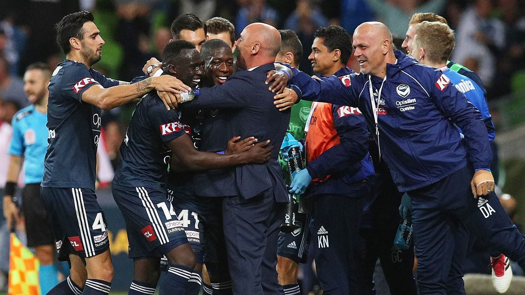 Melbourne Victory hug it out in pressure-breaking win
