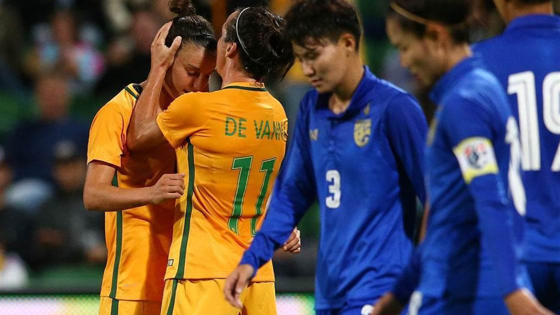 Five-star Matildas crush Thais in farewell fixture