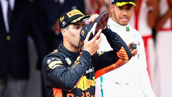 Ricciardo's shoey sledge at F1 rivals