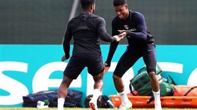 England striker Rashford continues training