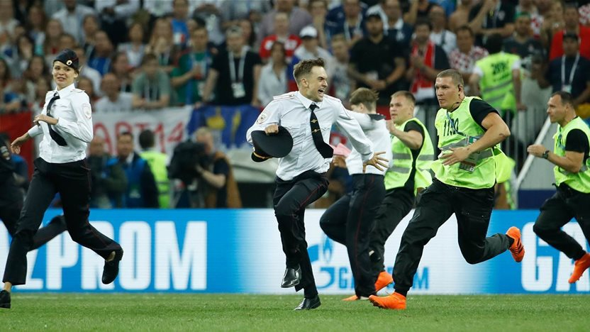 Four people to run onto pitch during World Cup final receive 15 days in detention