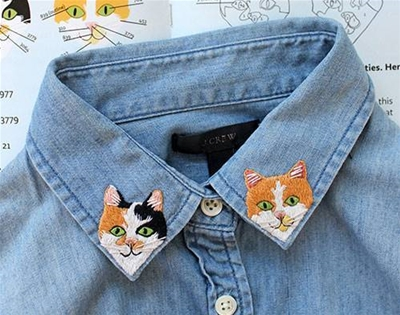 an embroidery kit for cat lovers