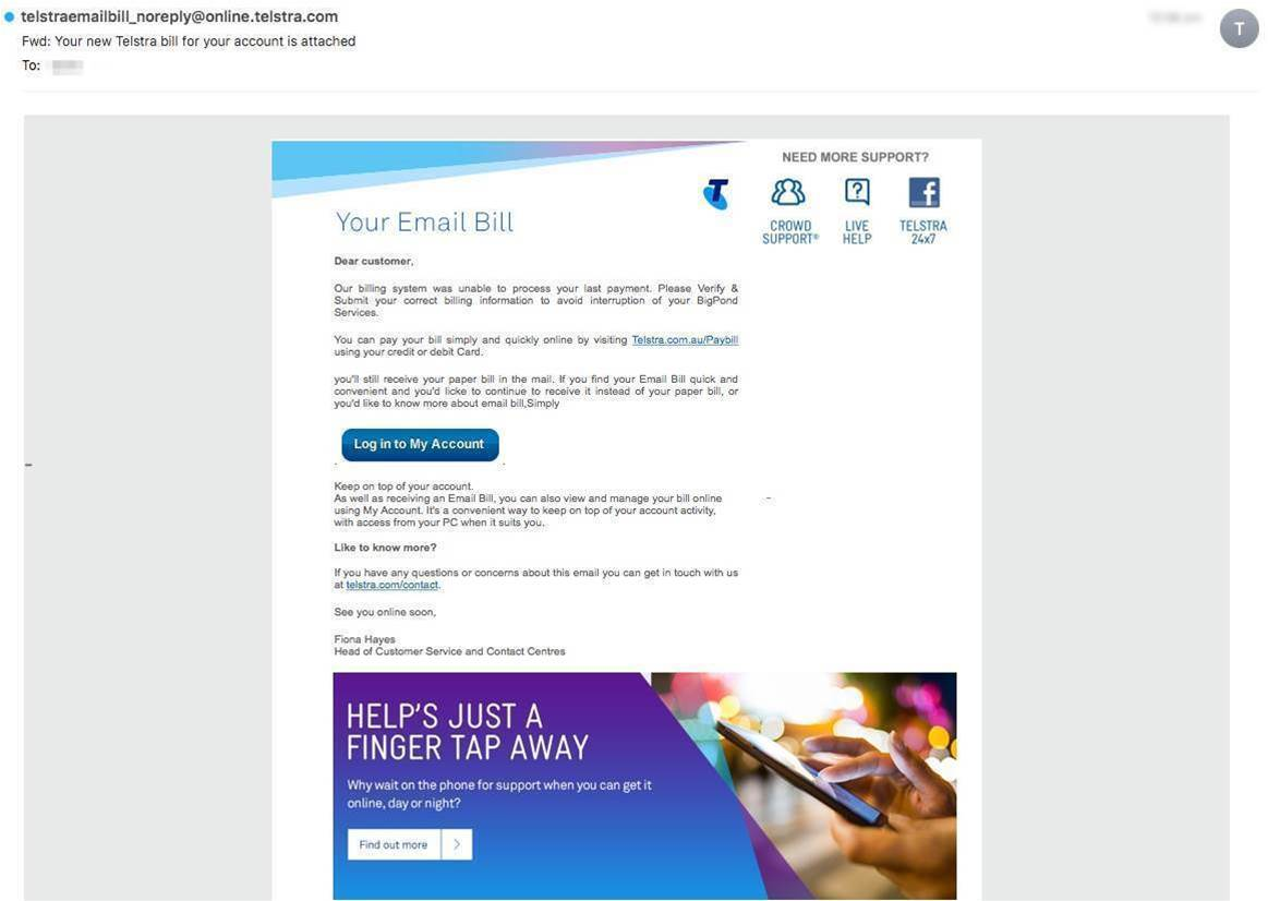 Beware of fake Telstra bills