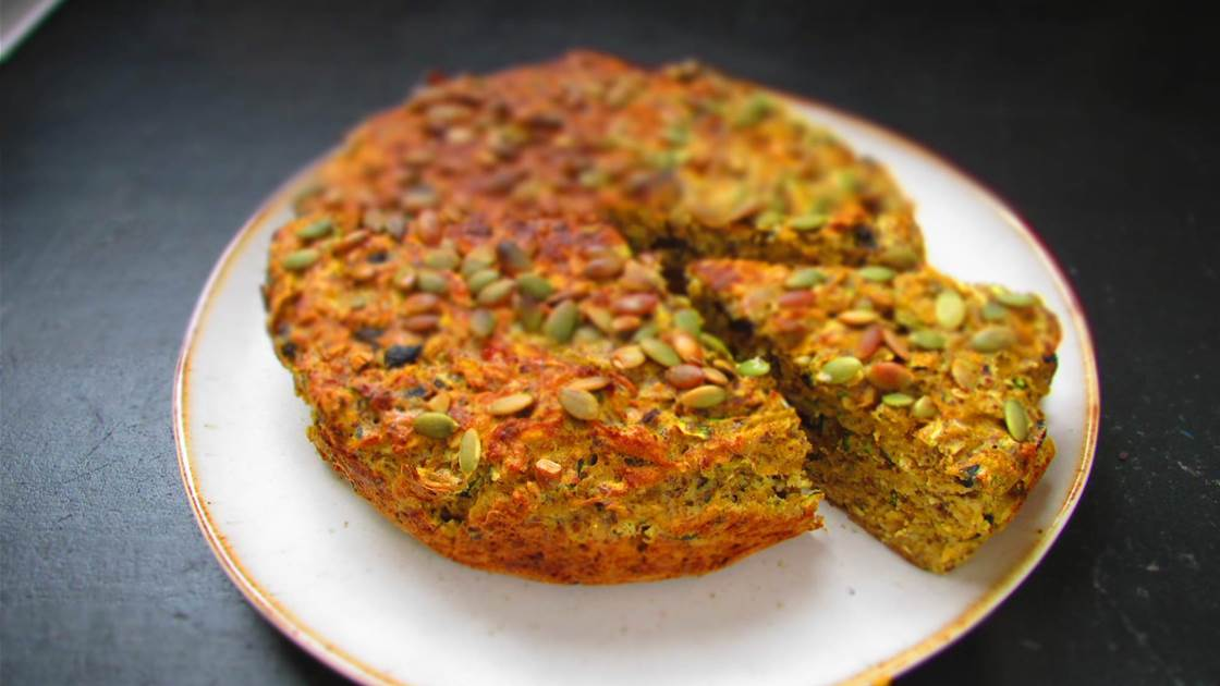 RECIPE: Pumpkin, Zucchini and Olive Cake