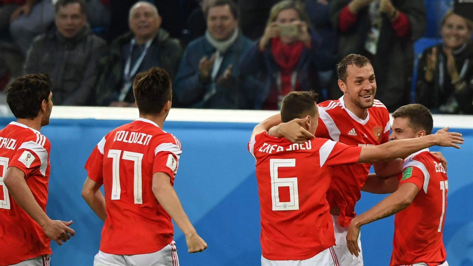 Hosts Russia beat Egypt 3-1 in St Petersburg