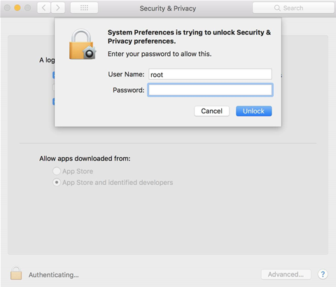 MacOS gives users full admin rights without password