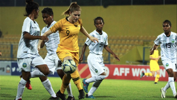 Young Matildas share the scoring in a nine goal victory