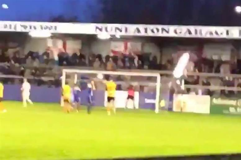 Watch! Goalkeeper breaks stadium light with shocking spot-kick