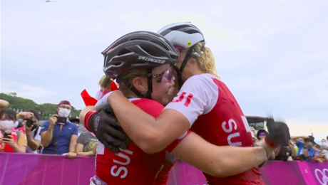Swiss Gold, Silver and Bronze at Tokyo 2020 women's MTB race