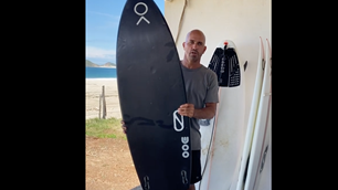 Slater on his Jet-Black, Great White-Inspired Board