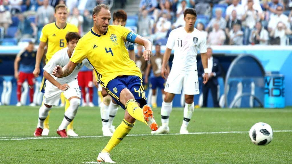 Granqvist penalty gives Sweden 1-0 win over South Korea