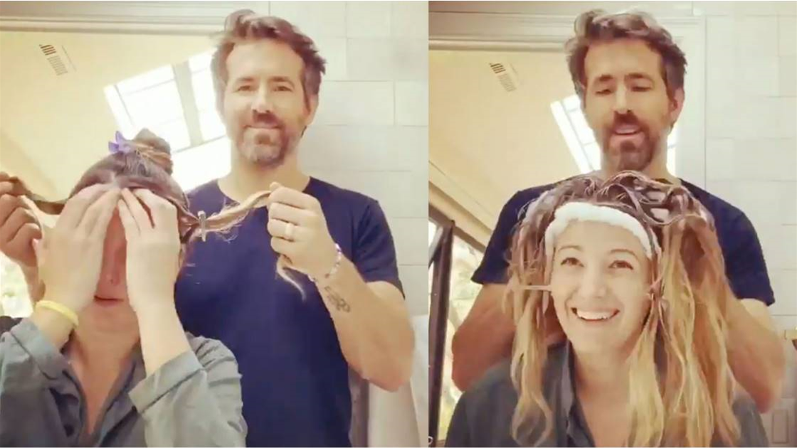 That's love! Ryan Reynolds colours his wife's hair