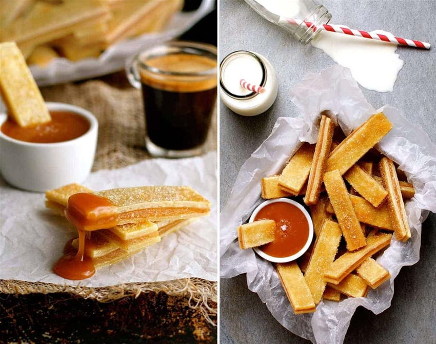 apple pie fries with salted caramel sauce