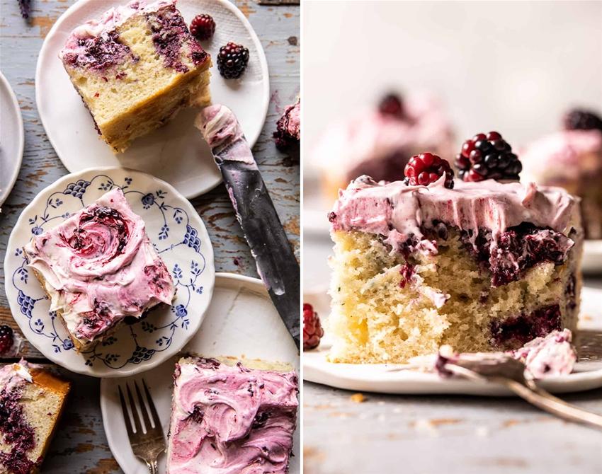 fluffy sheet cake with blackberry lavender swirl