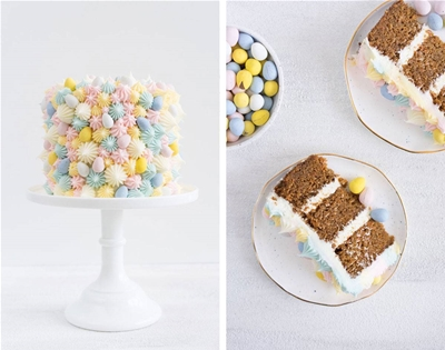 colourful carrot cake with cream cheese icing