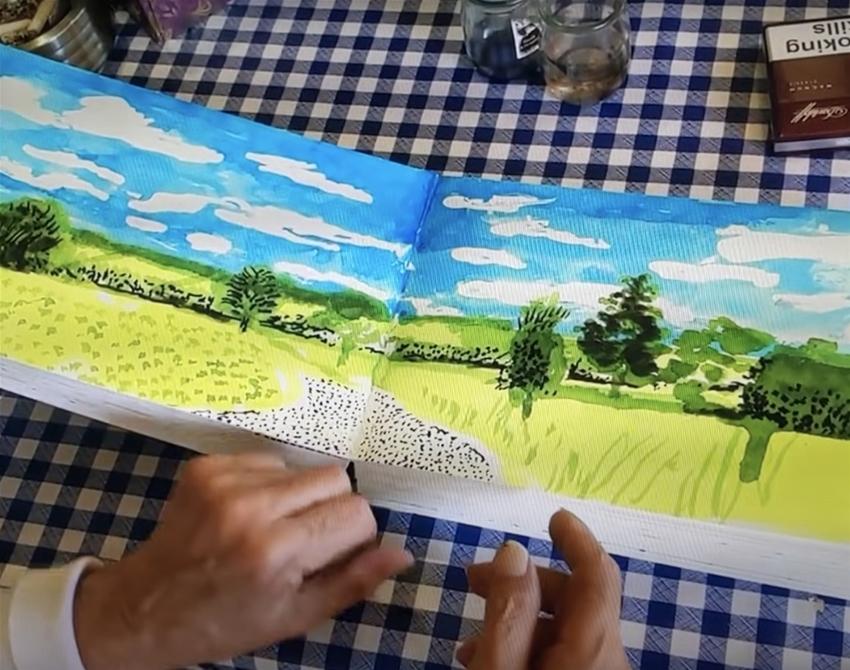 flip through david hockney's sketchbook
