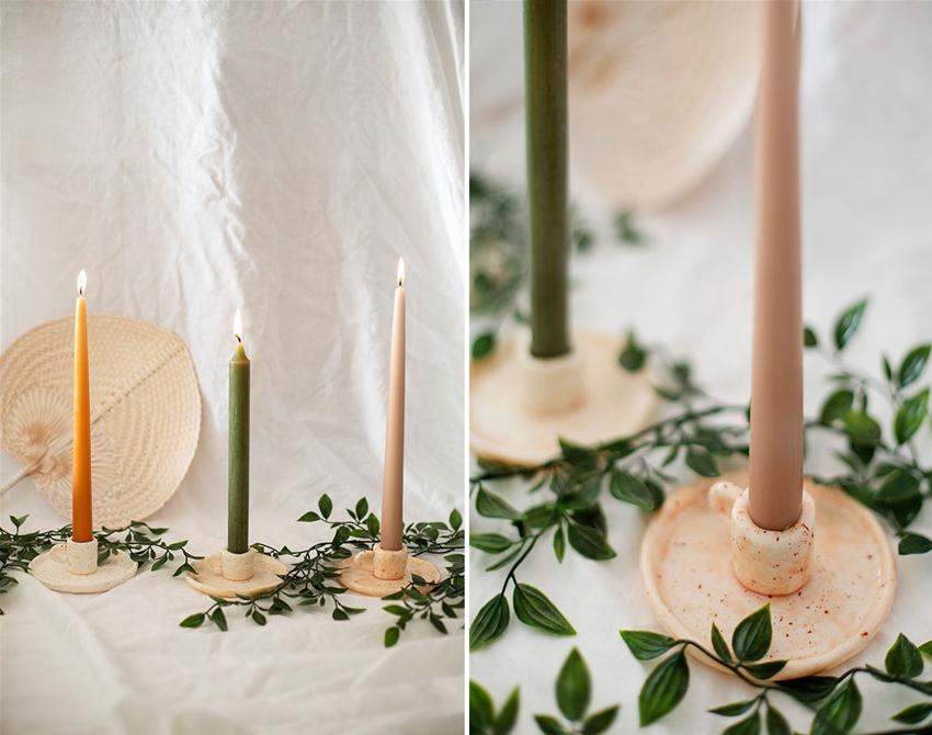 diy ceramic candleholders