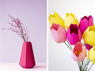 diy paper vase and tulips