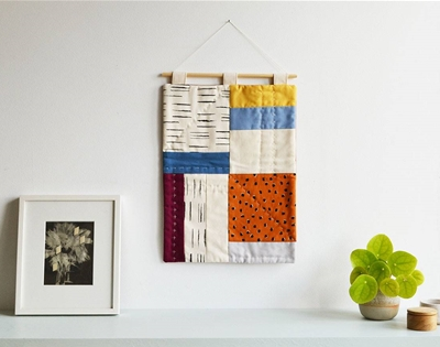 frankie exclusive diy: patchwork wall hanging
