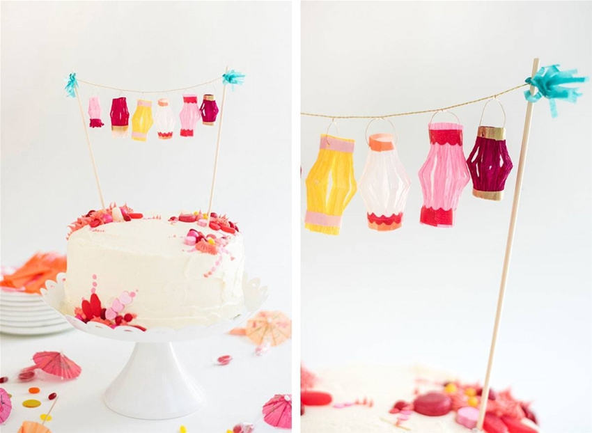 spruce up a cake with some diy paper lanterns