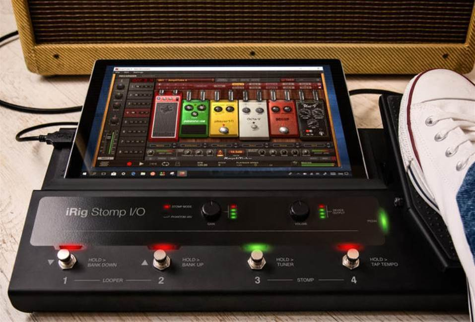 iRig Stomp I/O is a pedalboard for iOS guitarists who want to unleash their inner rock god
