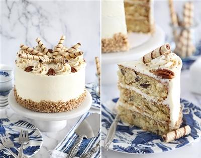 italian cream cake with coconut and pecans