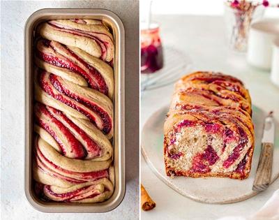 vegan jam-doughnut babka