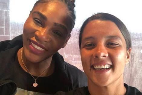 Sam Kerr meets her idol Serena Williams