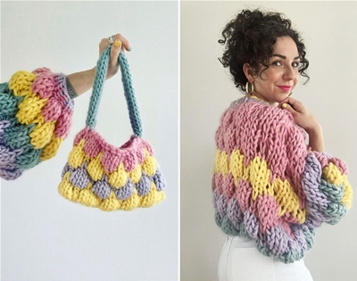 knit a bubble jumper and matching bag