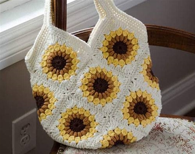 how to crochet a sunflower bag