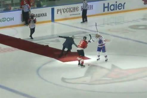 Watch! Mourinho falls on red carpet in ice hockey match