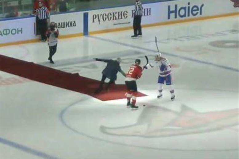 Watch! Mourinho falls on red carpet in ice hockey match