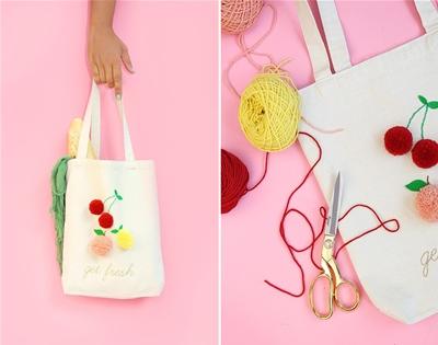 make your own fruity pom pom tote