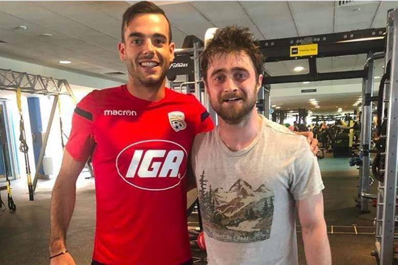 Adelaide United players meet Harry Potter