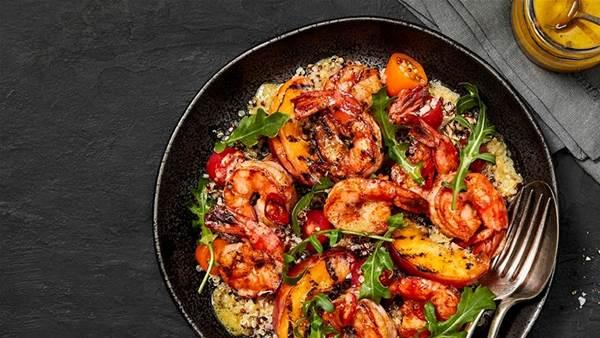 Grilled prawn, peach & quinoa salad