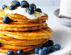Faye James' Pumpkin & blueberry pancakes