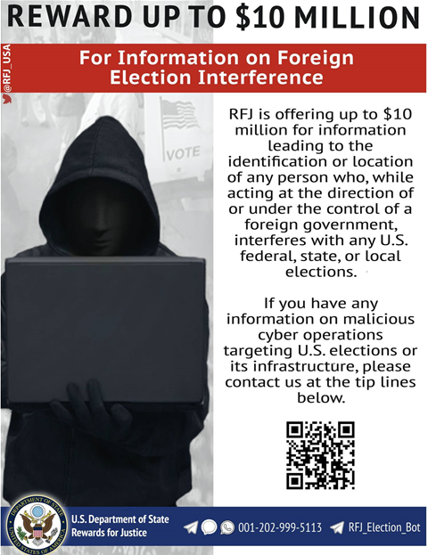 US offers bounties on election-interfering nation state hackers