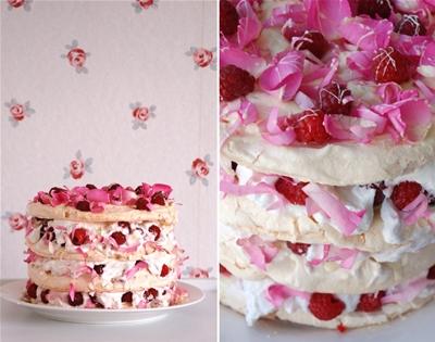 rosewater, raspberry and white-chocolate meringue cake