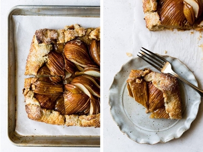 salted honey pear crostata